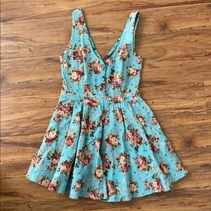 Floral turquoise dress